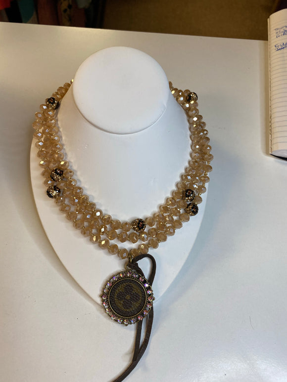 KG Long Bead Upcycled Necklace