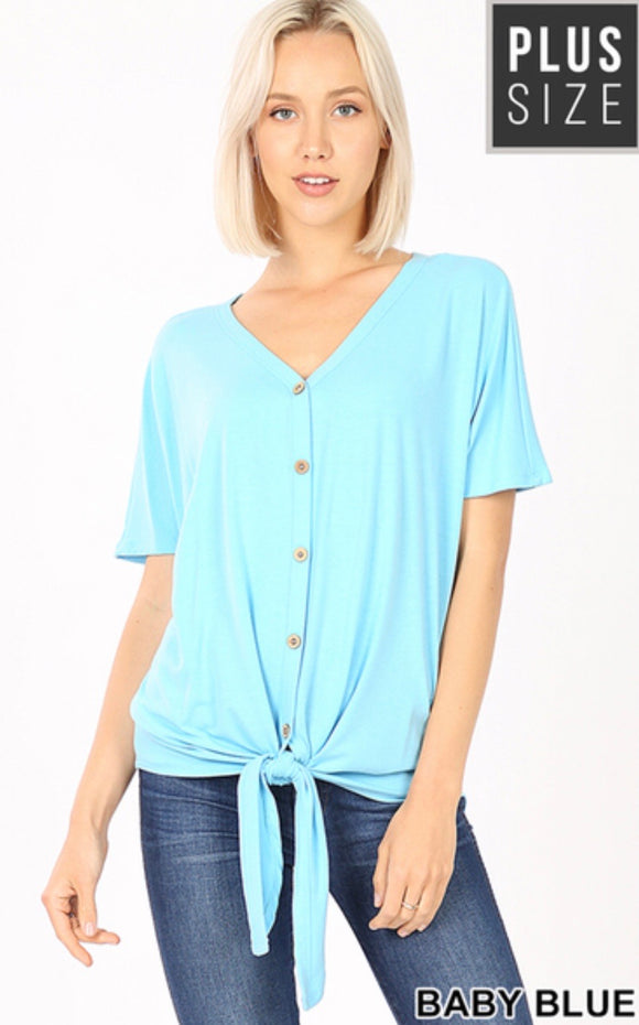 Plus Short Sleeve Tie Front Top