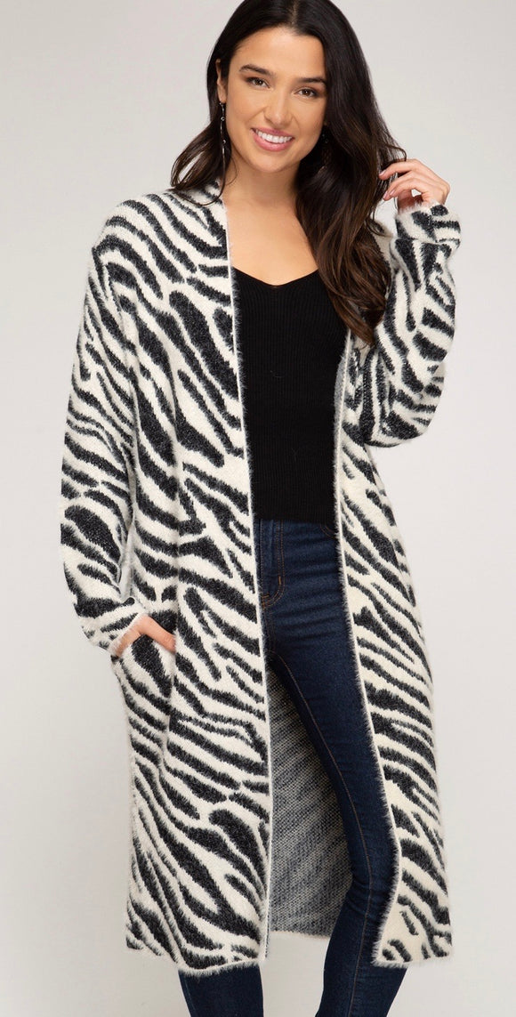 Zebra Print Long Cardigan