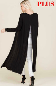 Plus size long sleeve maxi cardigan with split back