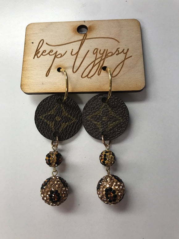 KG Golden Leopard Dangle LV Earrings