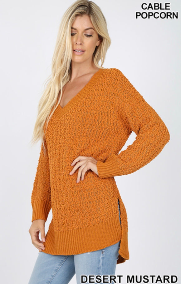 Long Sleeve V-Neck Popcorn Sweater