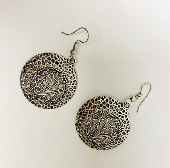 KD Silver Medallion Earrings