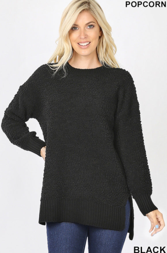 Long Sleeve Round Neck Popcorn Sweater