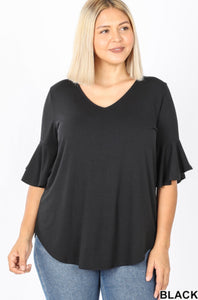 Plus Size Short Sleeve Waterfall Top