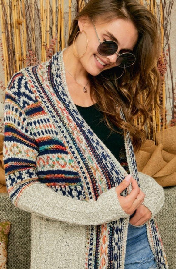 Aztec Striped Cream Cardigan