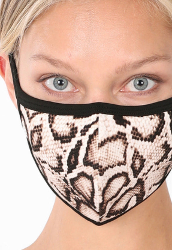 Washable Snake Print Face Mask