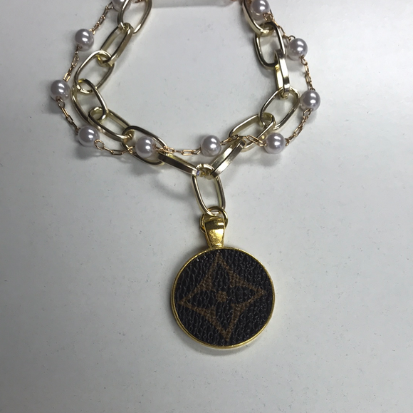 KD LV Upcycled Chain & Pearl Bracelet
