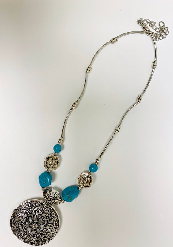 KD Turquoise Rose Medallion Necklace