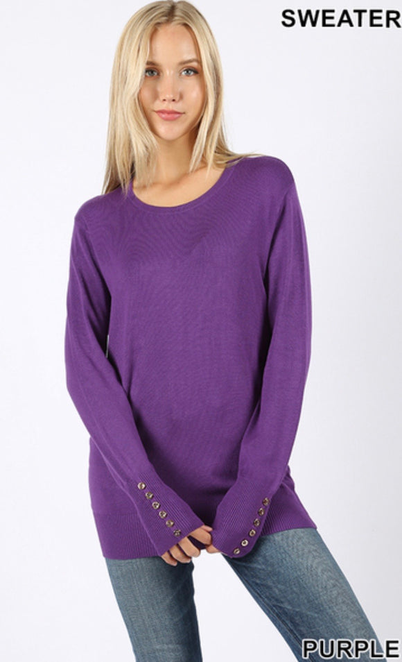 Long Sleeve Sweater with Button Detail