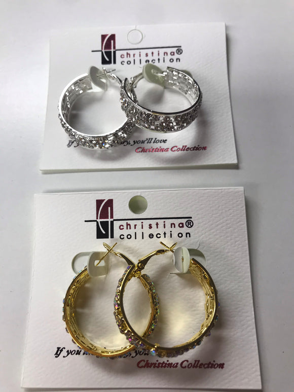 Triple Rhinestone Hoop Earrings