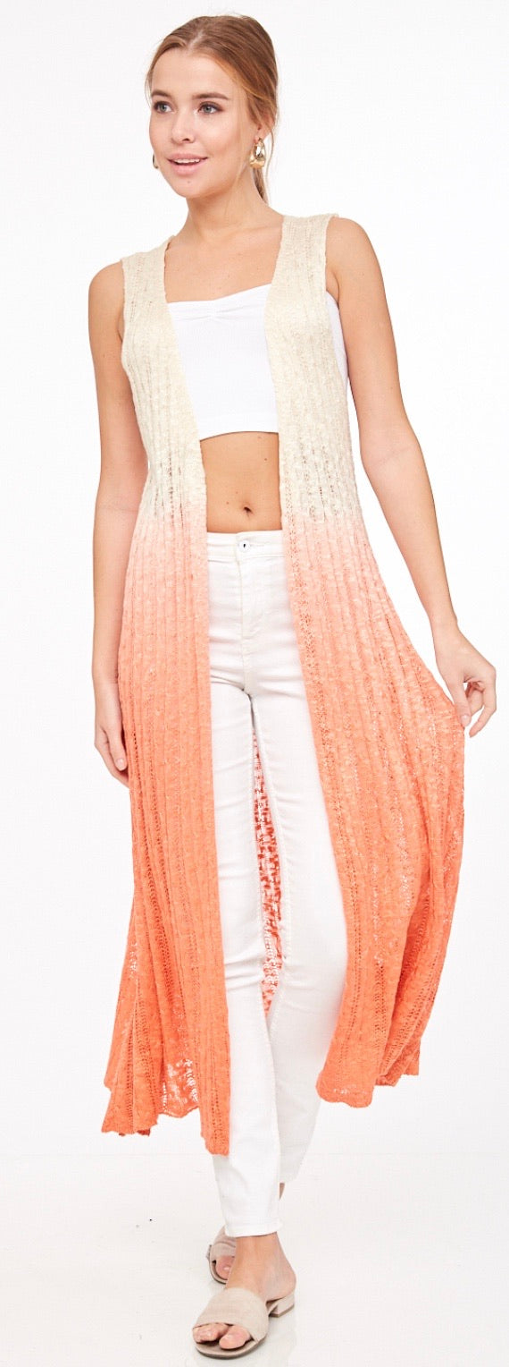 Ombre Sleeveless Cardigan