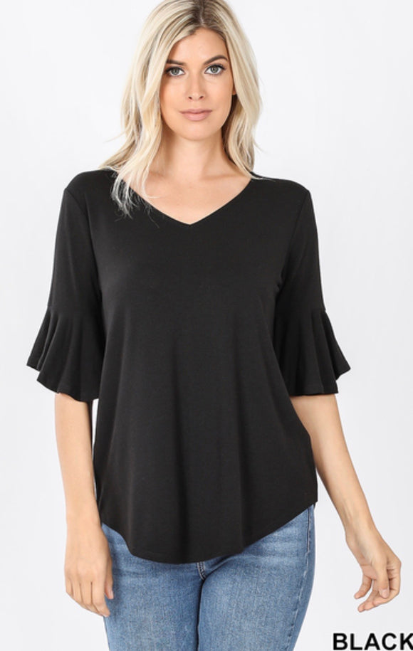 Short Sleeve Waterfall Top