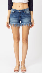 Kancan Low Rise Shorts with Frayed Hem
