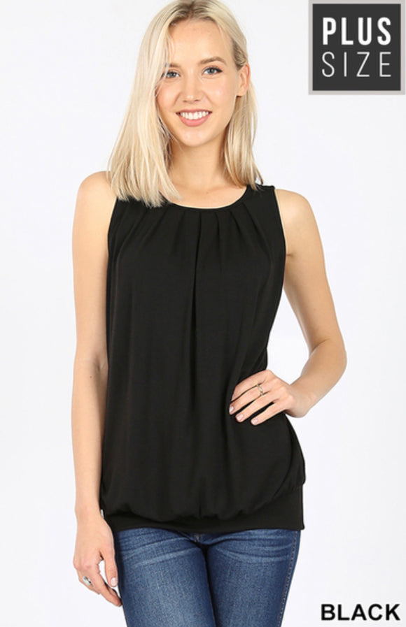 Plus Size Sleeveless Shirring Top