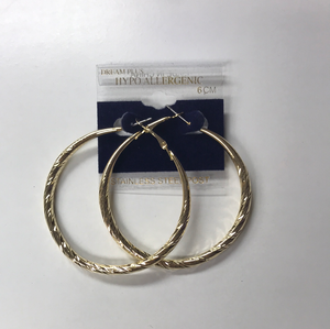 Large Diamond Cut Hoop Earrings