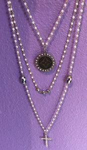 KG Triple Strand Pearl LV Necklace