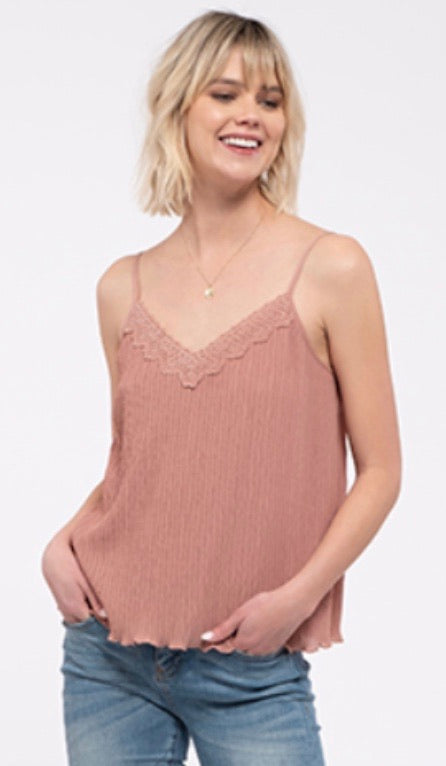 V-Neck Lace Detail Cami