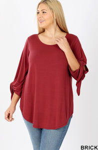 Plus Size Split Sleeve Top in Brick