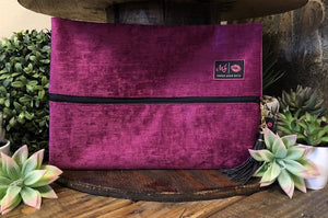 Makeup Junkie Bag - Fuschia Velvet - Medium