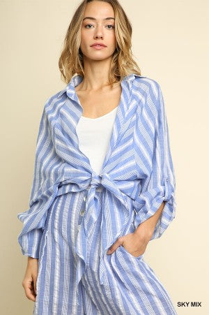 Striped Long Sleeve Tie Front Jacket