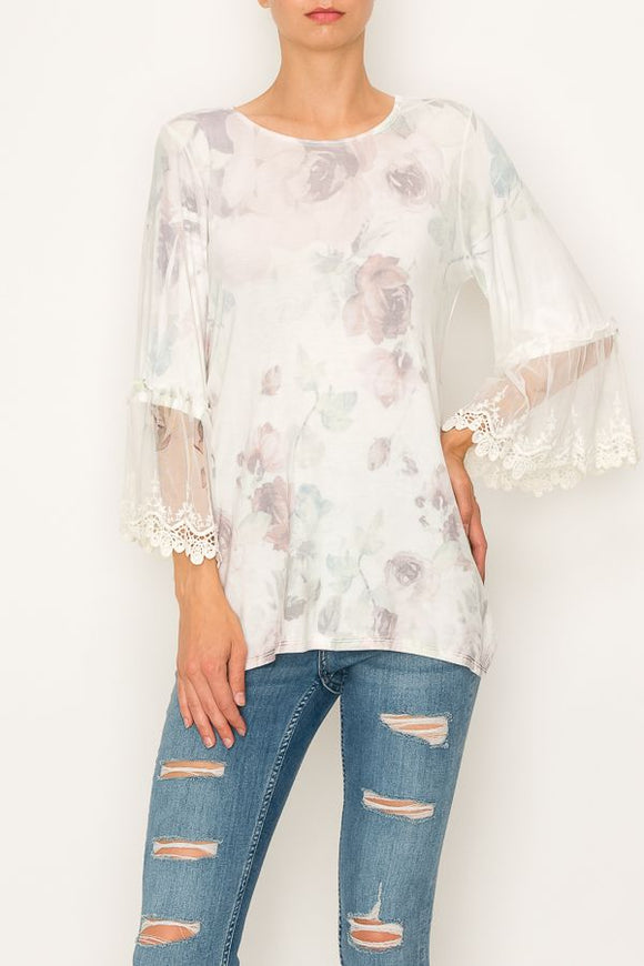 Plus Size Big Rose Lace Trimmed Long Sleeve Top