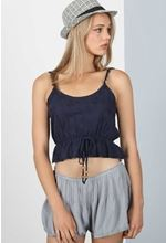 Elastic Band Bodice Crop Top