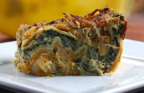 Creamy Pumpkin and Spinach Lasagna from One Green Planet