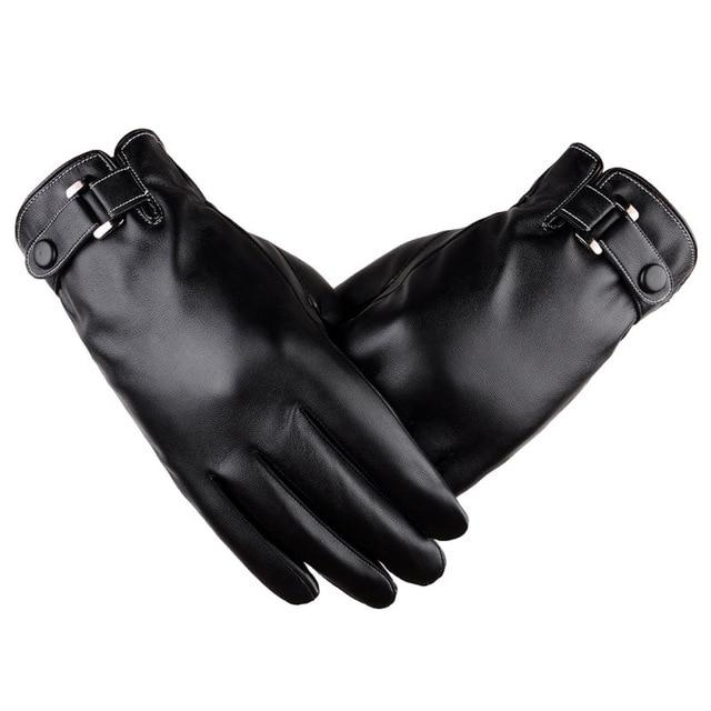 Solid Faux Leather Ranger Gloves