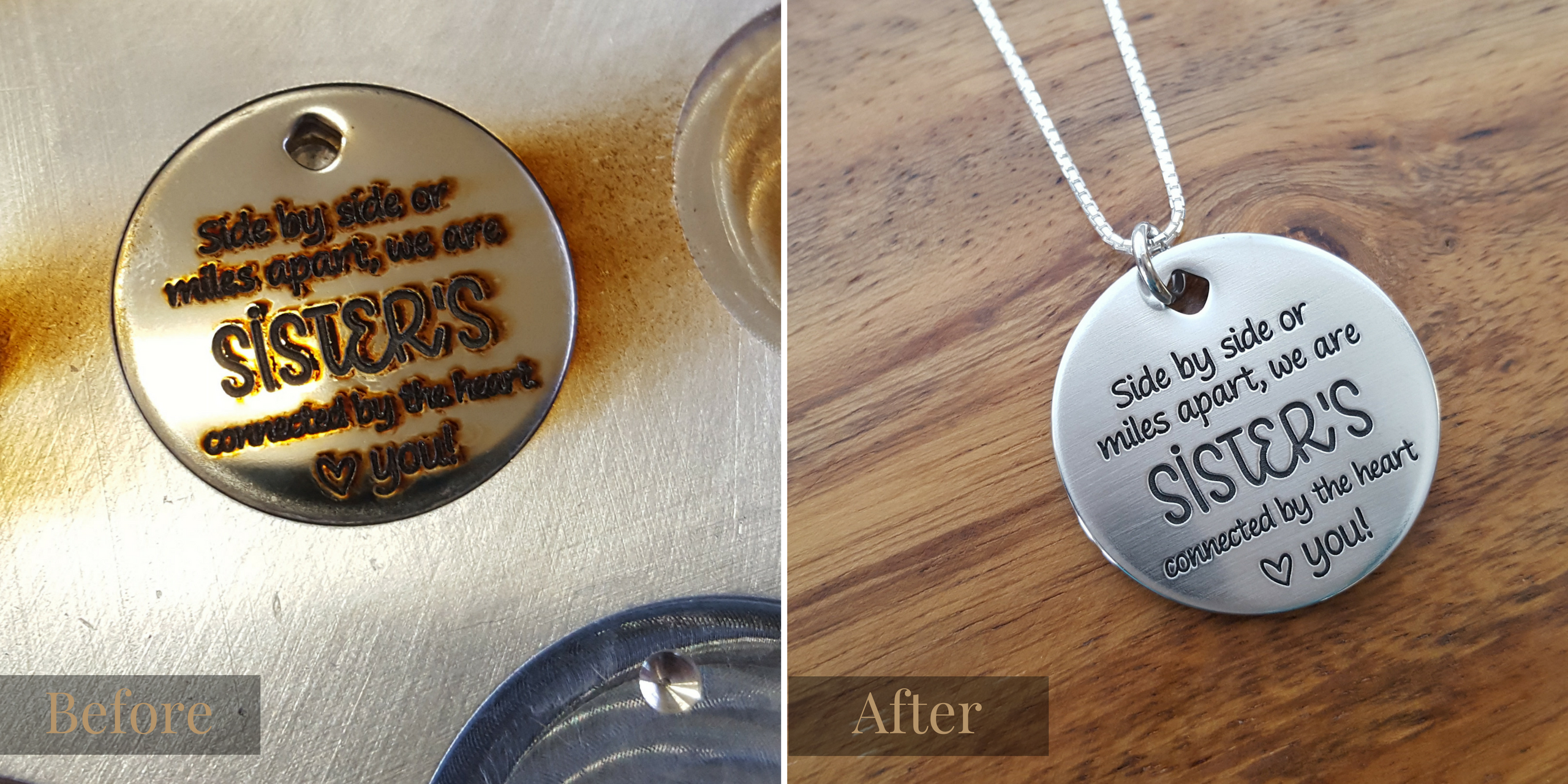 Before and After Engraving of Custom Sisters Necklace