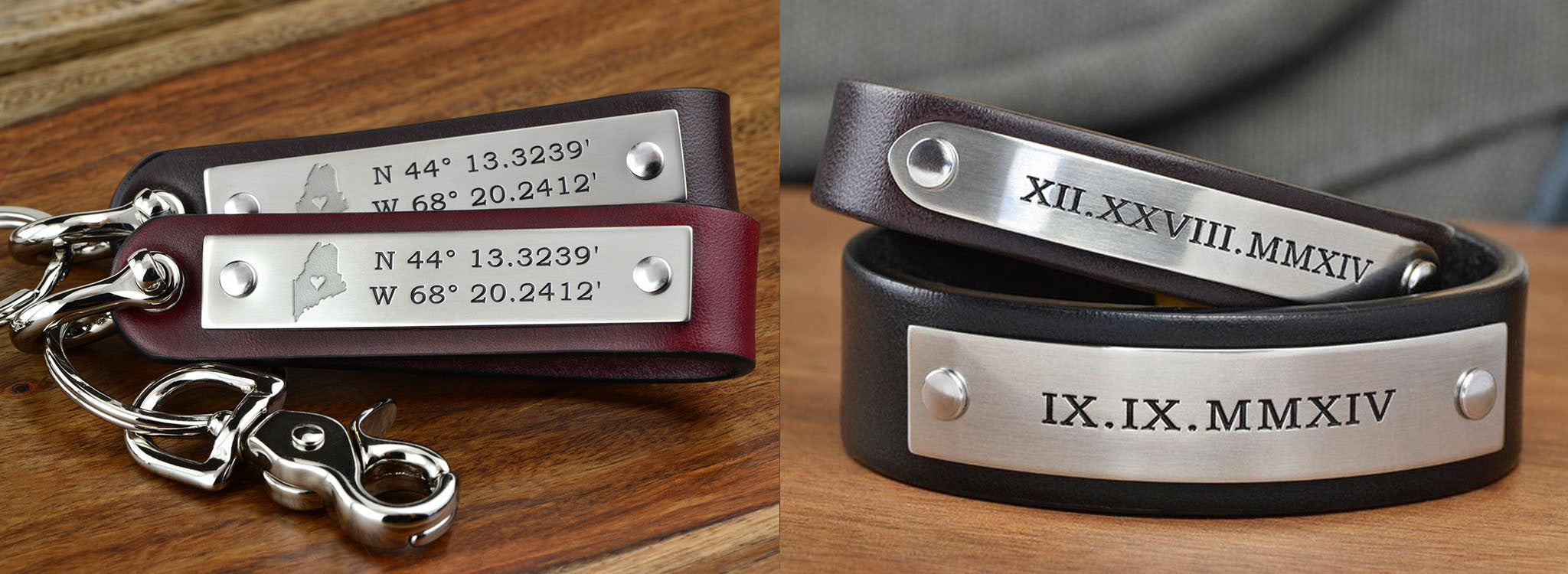 3rd Anniversary Leather Keychain and Bracelet Set
