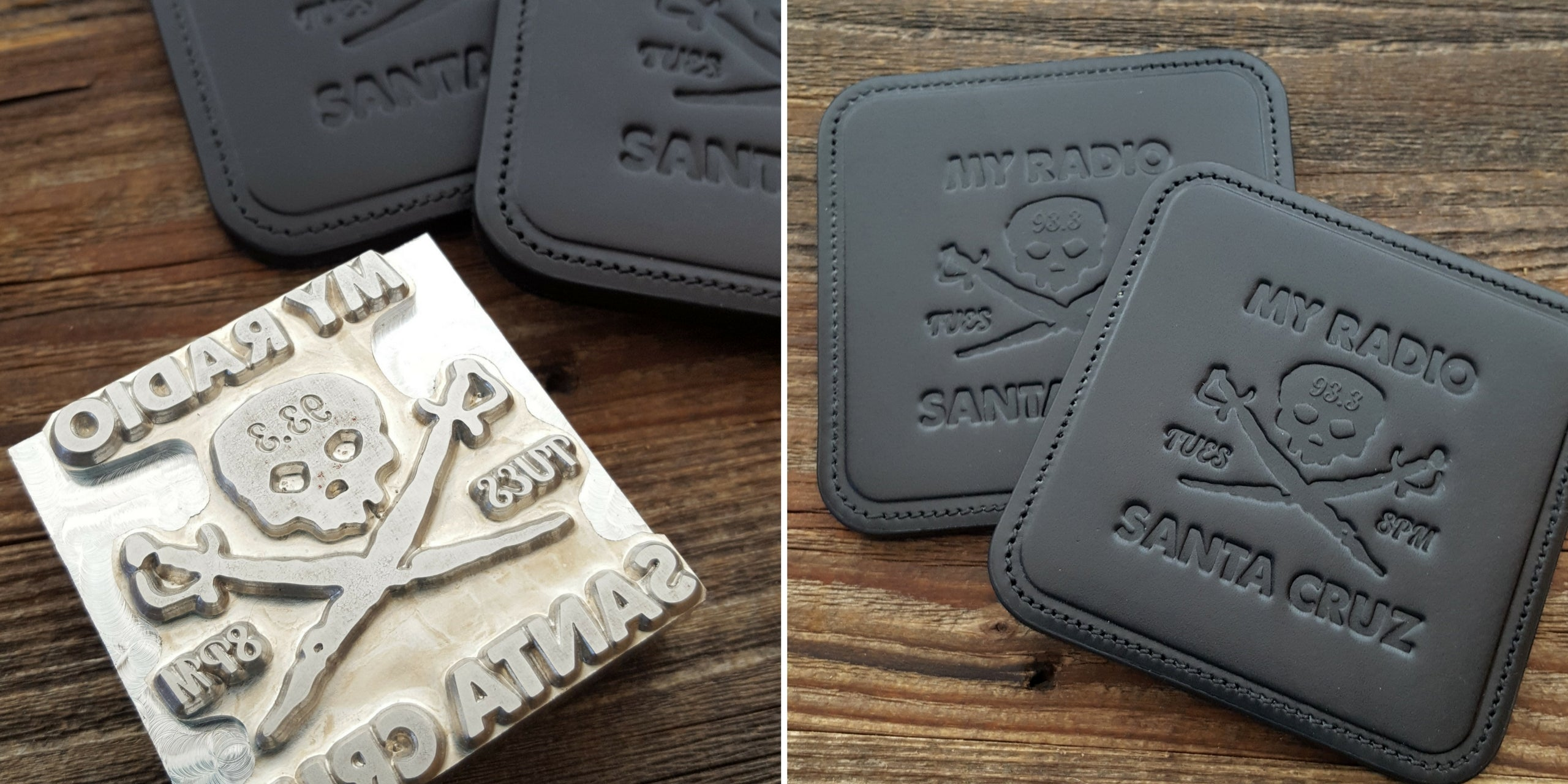 Custom Logo Embossed Leather Coasters