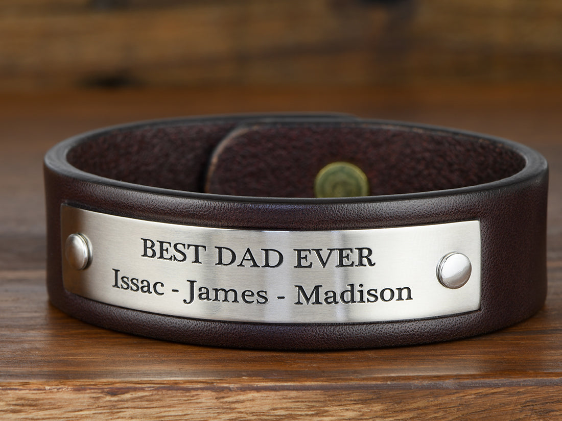 Fathers Day Custom Leather Bracelet