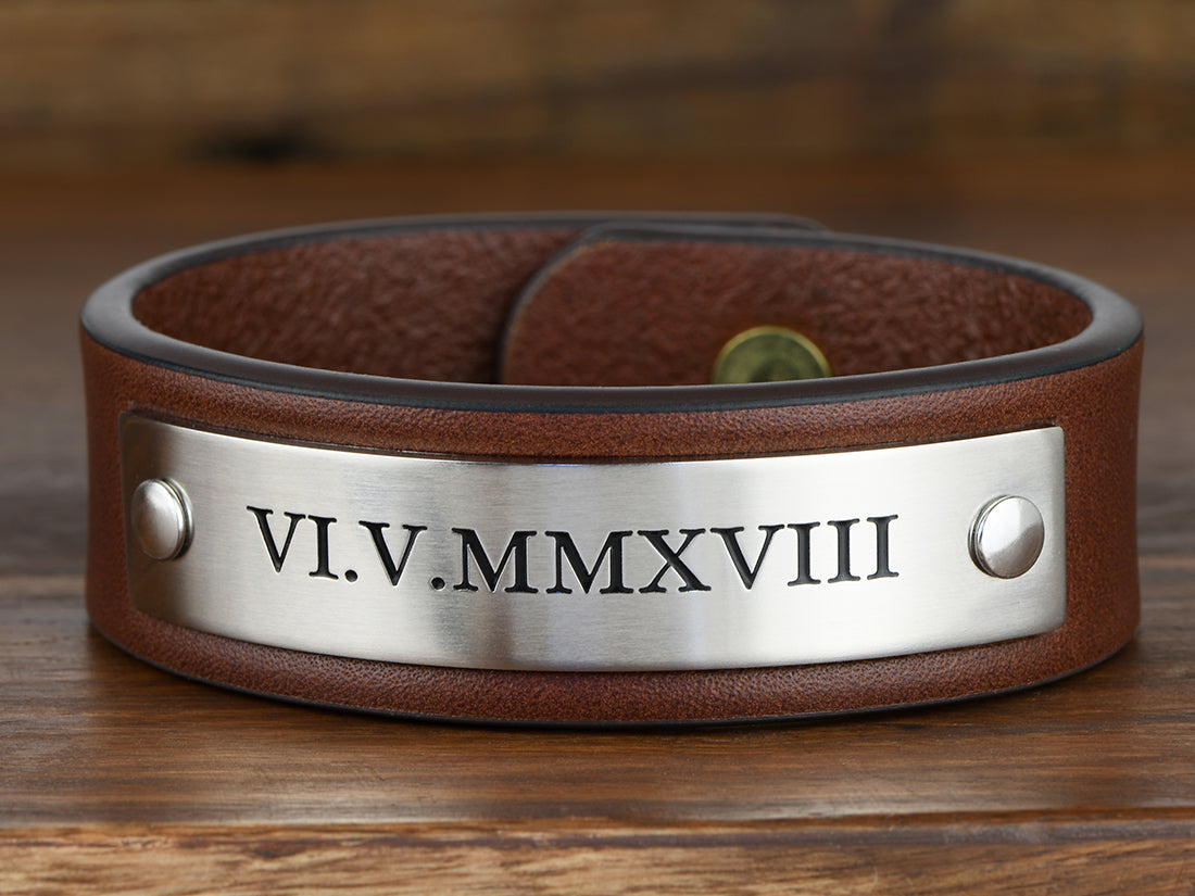 Roman Numeral Birth date Leather Bracelet
