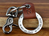Mens 3rd Anniversary Leather Keychain with Your Initial. Engrave the coordinates of where you got married with your initial embossed into leather to celebrate your 3 years together.