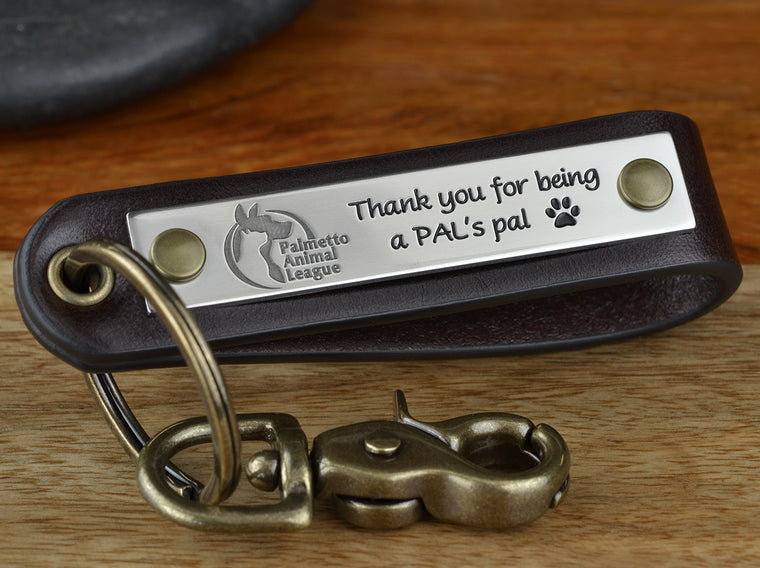 Animal Rescue Client Appreciation Leather Key Chain