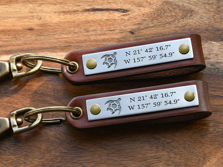 Anniversary Gift for Couples Custom Engraved Leather Keychain
