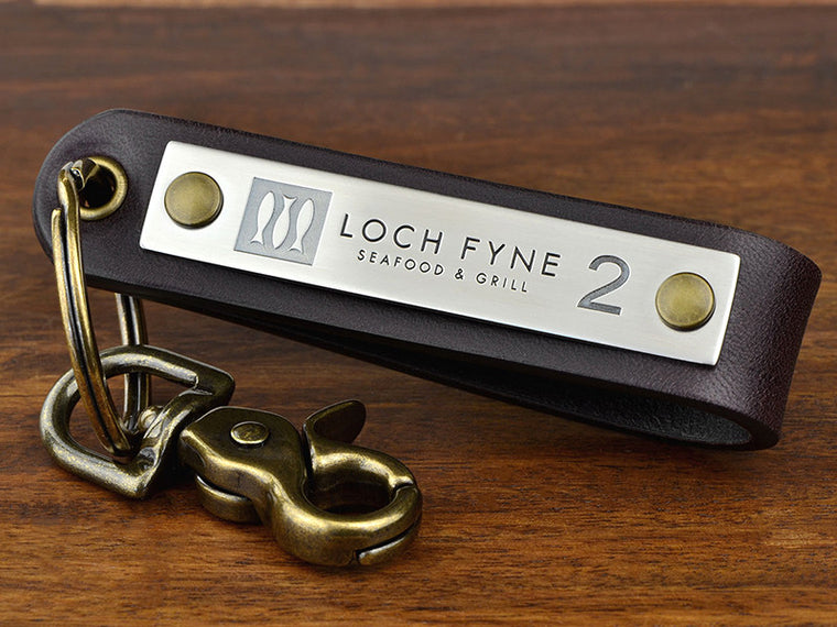 Custom logo keychain for spa or resort engraved with room numbers