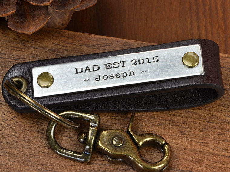 Fathers day keychain gift for dad established