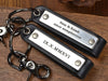 Personalized couples leather set of keychains with dates and quote
