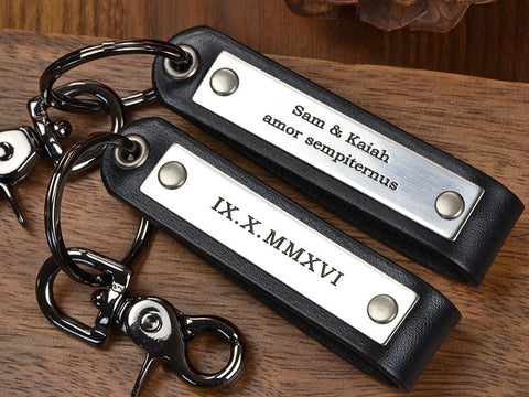 Personalized Leather Key Chain Set