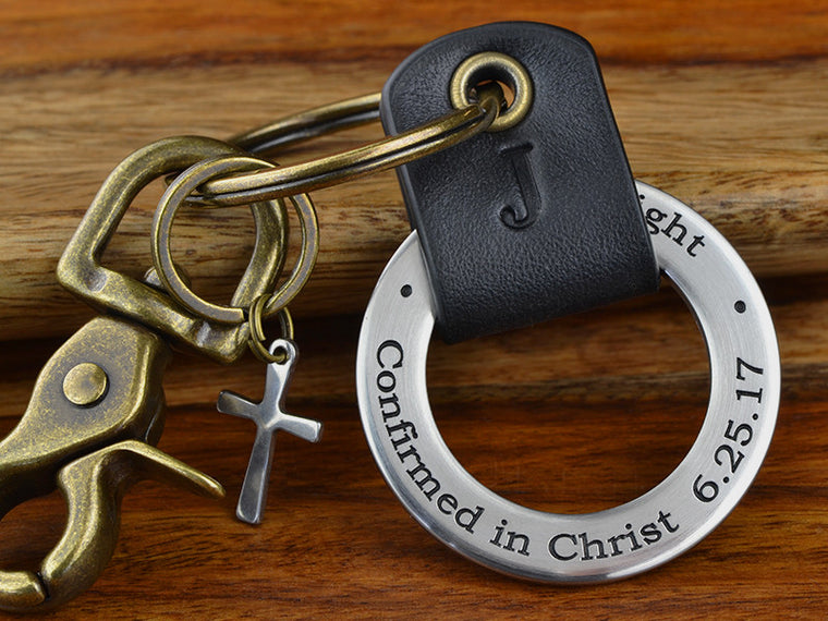 Confirmation Leather Keychain gift Confirmed in Christ with cross charm