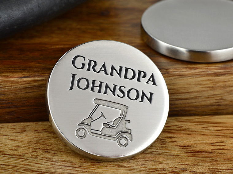 Engraved high quality golf ball marker for Dad or Grandpa