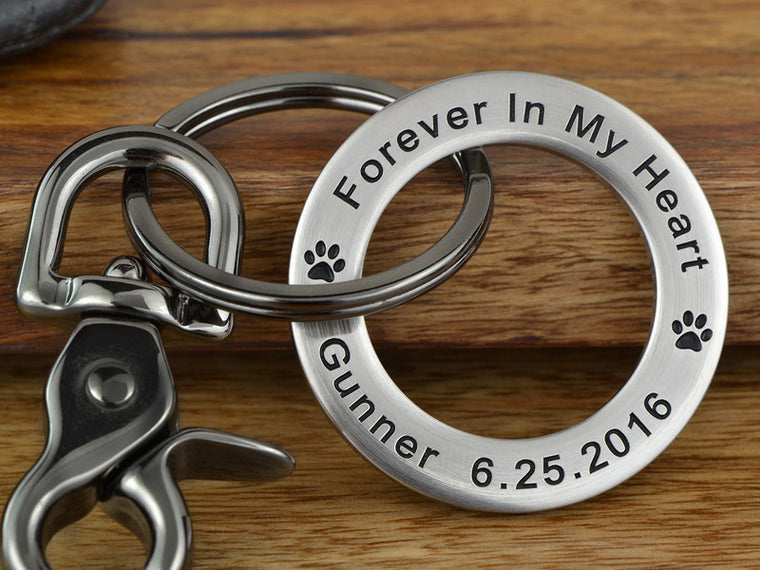 Forever in My Heart pet memorial keychain with paw prints