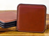 Square handcrafted set of 4 leather coasters