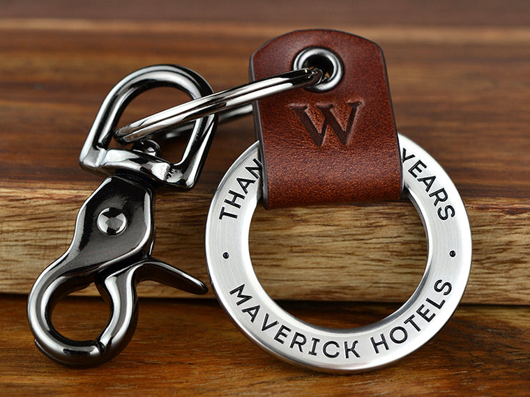 Staff or Business Leather Keychain. Show a long time staff member or business partner you appreciate their partnership and loyalty.