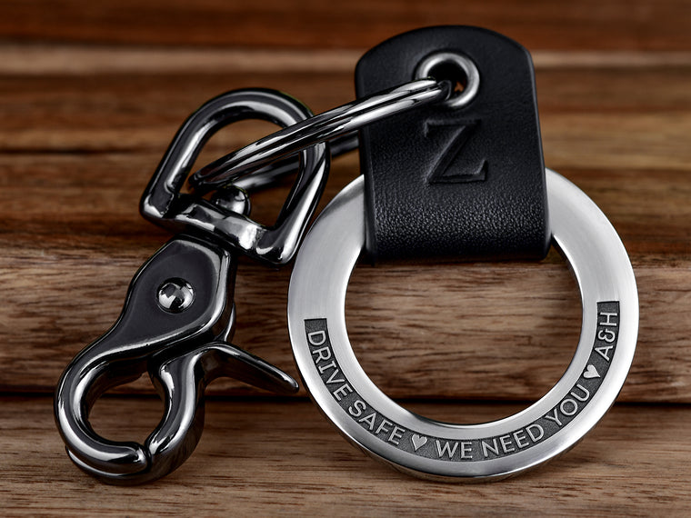 Raised Engraving Leather Key Chain Ring