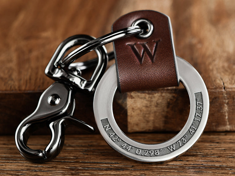 Raised Engraving Coordinates Leather Key Chain Ring