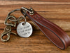 Slim Custom Leather Keychain with Engraved Stainless Steel Charm