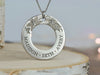 Hibiscus floral ring necklace engraved with all of your kids names